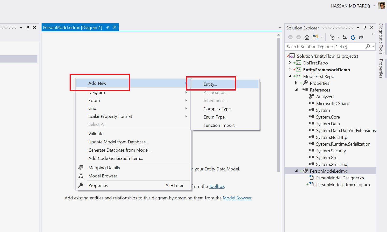 Entity Framework Model Fisrt Approach - Creating edmx Step 7